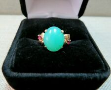 T.Y.L 14K Solid Yellow Gold Chrysoprase & Ruby Ring TYL 2108 Size 7.25 / 5.04 G