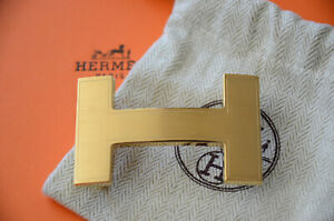 HERMES 32MM Belt Buckle GOLD QUIZZ H with Pouch