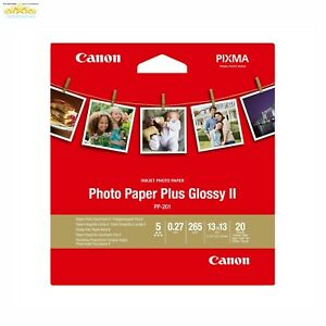 """Pixma Canon Photo Paper Plus Glossy II PP-201 13 x 13cm 5"""" x 5"""" Pack Of 20"""