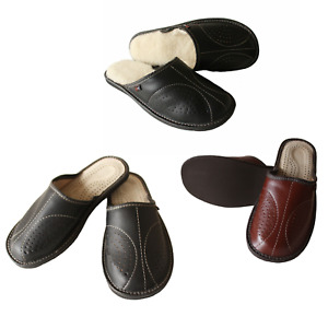 Men's Leather Slippers Slip On House Shoes Moccasins Size 6.5-11 Wool Mule Scuff