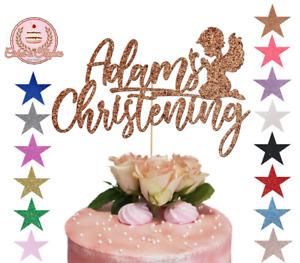 Christening Glitter Cake Topper Customised Personalised Any Name