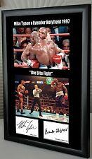 """Mike Tyson Evander Holyfield """"Bite lotta"""" incorniciato stampa tela Firmato Grande Regalo"""