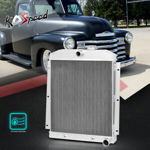3-Row Core Aluminum Racing Cooling Radiator for 47-54 Chevy Pickup Suburban L6