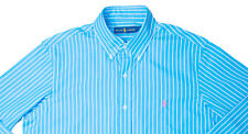 Men's RALPH LAUREN Ocean Blue White Stripe Striped Shirt Large L NWT NEW Nice!