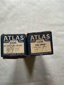 2 ATLAS Player Piano Rolls, Vintage, Planist Fred Siebert