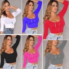 Womens Sexy High waist low-cut long sleeve stretch tight short crop tops T shirt