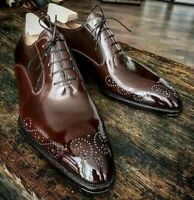 Handmade Men's Maroon Heart Medallion Lace Up Dress/Formal Oxford Leather Shoes