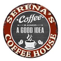 CPCH-0762 SERENA'S COFFEE HOUSE Chic Tin Sign Decor Gift Ideas