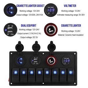 12V 24V 8 Gang Car Boat LED Rocker Switch Control Panel Blue LED Light Indicator