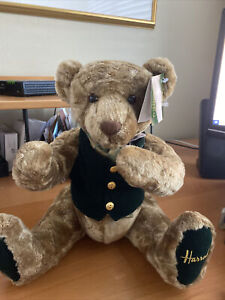 """Harrods Limited Rodney Bear - New Jointed 13"""" Seated 18"""" Overall Length"""