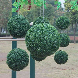 1pc Artificial Buxus Ball Boxwood Hanging Topiary Garden Fake Potted Xmas Decor