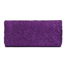 Premium Lace Paisley Floral Fabric Satin Flap Clutch Evening Bag