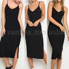 ZANZEA Womens Sleeveless Strappy Tank Dress Slim Rib Knit Split Party Midi Dress