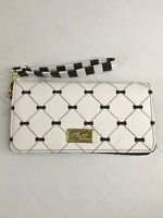 Luv Betsey Betsey Johnson Wallet Organizer Wristlet White Black Bow Accents