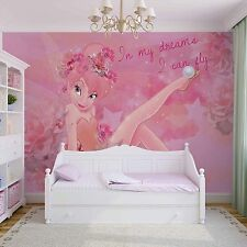 368x254cm Disney Fairy Tinker Bell pink wallpaper wall mural for girls bedrooms