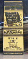 Rare Vintage Matchbook Cover V9 Manheim Lititz Pennsyvania Electric Alvin Frey