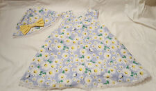 Toddler Girls 3T-4T Sleeveless Dress Daisy Floral Bumblebees w/ Matching Hat
