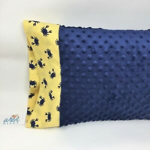 "NWT Crab Minky Toddler Pillowcase 12""x16"" Travel Size Nautical Ocean Animal Beac"