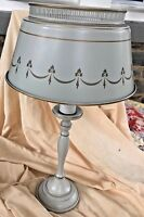 "Vintage Table Lamp & Shade Metal  Toleware Gold Trim Light Gray 20"" Tall"