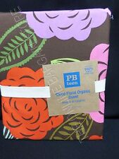 Pottery Barn Teen Chloe Floral Organic Bed Dorm Duvet Cover Twin Pink Brown