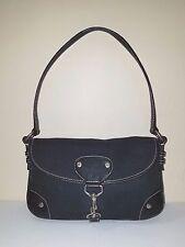 Lauren Ralph Lauren Black Cotton Linen Small Shoulder Bag with Leather Details