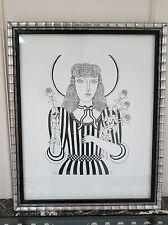 Shiego Okumura signed Oku, Black white female Lithograph Japanese artist