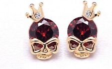 Fashion Earring Boho Festival Party Uk Red Skull Crown Halloween Stud Luxury