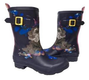 New NIB Joules Navy Blue Pink Floral Rubber Molly Mollywelly Rain Boots Rainboot