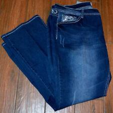 NWT Womens SOUNDGIRL Size 24 Jr Plus Dark Distressed Denim Jeans Boot Cut Leg