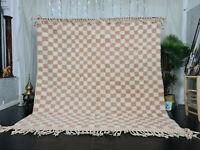 "Beni Ourain Moroccan Handmade Carpet 8'x8'5"" Berber Checkered White Pink Rug"