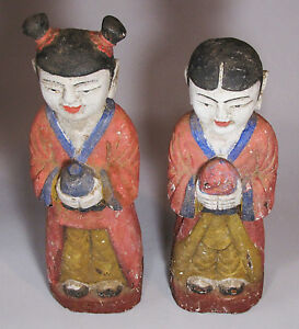 Korean Very Rare Pair/Boy/Girl(童子/童女) Carved Wood/Polychromed Statues-.