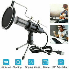 Condenser USB Microphone w/ Tripod Stand for Game Chat Studio Recording ComputQA