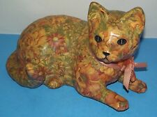 "Calico Kitty Cat Figure Decoupage Lacquer Floral about 14""x9"" Gilda 91 Animal"
