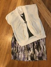 Women's Chico's Sz 1.0 (8) Outfit: Cardigan;Top; NWT! Skirt. NWOT Necklace. EUC!