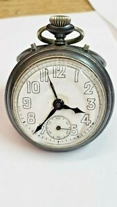 Junghans Alarm / Gunmetal Case / Rare / Vintage Pocket Watch