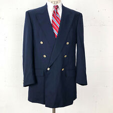 Burberrys Mens Navy Blue Double Breasted Blazer 44L Sport Coat Jacket Blazer