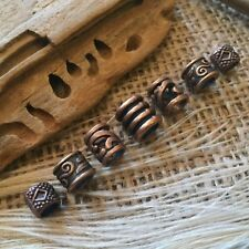 7 x Copper Tone Dread Beads Viking Celtic 4-5mm Hole Mix Dreadlock Beards UK NEW