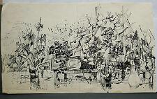 Dessin Original Encre Claude Schürr (1921-2014) La Musique 1960  SHU21