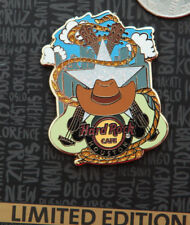 Hard Rock Cafe Pin Houston COWBOY HAT Lasso Texas Cross guitar body star lapel