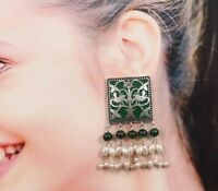 Oxidized Silver Plated Handmade Meenakari Jhumka Jhumki Studs Earrings women #GR