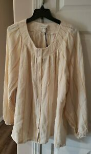 Ava And Viv Size 2X Yellow Creame Striped Button Up Top