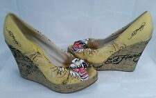 Ed Hardy Womens Casablanca Wedge Pump Yellow Tiger 10SCA105W Womans 8 M