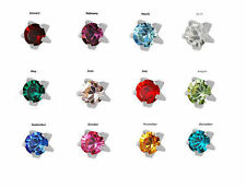 12 Prs. 2mm JANUARY - DECEMBER Birthstones PIERCING Studs Earrings SILVER PRONG