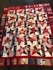 """Homemade Red, Blue and White Stars and Strips Rustic Farmhouse Quilt-54"""" x 46"""""""