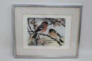 DAVID KOSTER (1926 - 2014) Signed Limited Edition Coloured Etching Bullfinches
