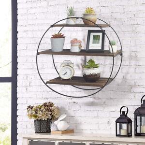 Fashion Circular Wood Wall Mounted Floating Shelf Decorative Rack 50cm Diameter