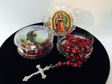 Wood Red Scented Rosary with a christ crucified Collective Decorative Case