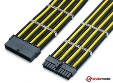 Shakmods 24pin ATX Mobo 30cm Black & Yellow Sleeved Extension + 2 Cable Combs