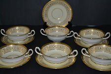 ANTIQUE MINTON FOR TIFFANY & CO GOLD ENCRUSTED BOUILLON BOWLS WITH UNDER PLATES