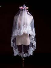 WHITE VOILE BRIDAL WEDDING VEIL, EMBROIDERED APPLIQUE LACE EDGING, 150 CM